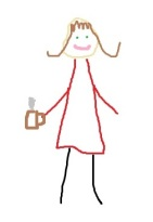 stick figure girl, girl holding coffee, lady with coffee, writer, author, drawing of writer, OCD writer